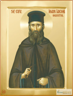 Sfântul Ioan Iacob Hozevitul. Icoană litografiată.