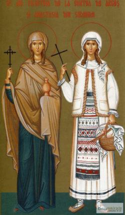 Sfintele Muceniţe Filofteia de la Curtea de Argeş şi Anastasia din Sirmium. Icoană litografiată.