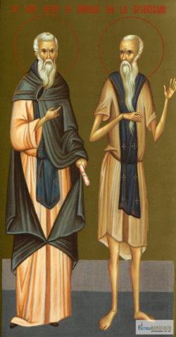 Sfinţii Cuvioşi Iosif şi Chiriac de la Bisericani. Icoană litografiată.