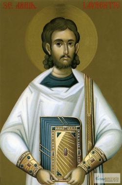 Sfântul Arhidiacon Lavrentie. Icoană litografiată.