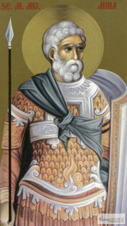 Sfântul Mare Mucenic Mina. Icoana litografiată.