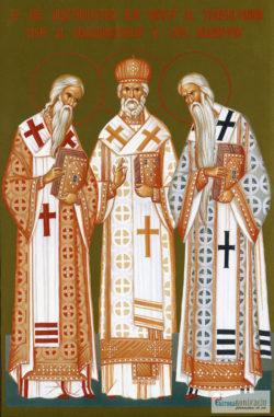Sfinţii Ierarhi Ilie Iorest al Transilvaniei, Iosif al Maramureşului şi Sava Brancovici. Icoană litografiată.