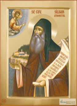 Sfântul Siluan Athonitul. Icoană litografiată.